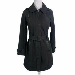 Michael Kors Leather Trim Fleece Lined Trench Coat